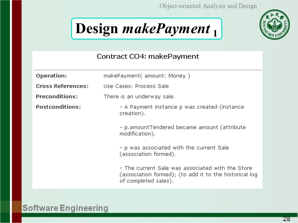 Software Engineering 28 Object-oriented Analysis and Design Design makePayment 1
