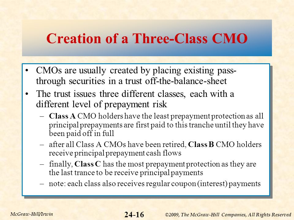 ©2009, The McGraw-Hill Companies, All Rights Reserved 24-16 McGraw-Hill/Irwin Creation of a Three-Class CMO CMOs are usually created by placing existing pass- through securities in a trust off-the-balance-sheet The trust issues three different classes, each with a different level of prepayment risk –Class A CMO holders have the least prepayment protection as all principal prepayments are first paid to this tranche until they have been paid off in full –after all Class A CMOs have been retired, Class B CMO holders receive principal prepayment cash flows –finally, Class C has the most prepayment protection as they are the last trance to be receive principal payments –note: each class also receives regular coupon (interest) payments CMOs are usually created by placing existing pass- through securities in a trust off-the-balance-sheet The trust issues three different classes, each with a different level of prepayment risk –Class A CMO holders have the least prepayment protection as all principal prepayments are first paid to this tranche until they have been paid off in full –after all Class A CMOs have been retired, Class B CMO holders receive principal prepayment cash flows –finally, Class C has the most prepayment protection as they are the last trance to be receive principal payments –note: each class also receives regular coupon (interest) payments