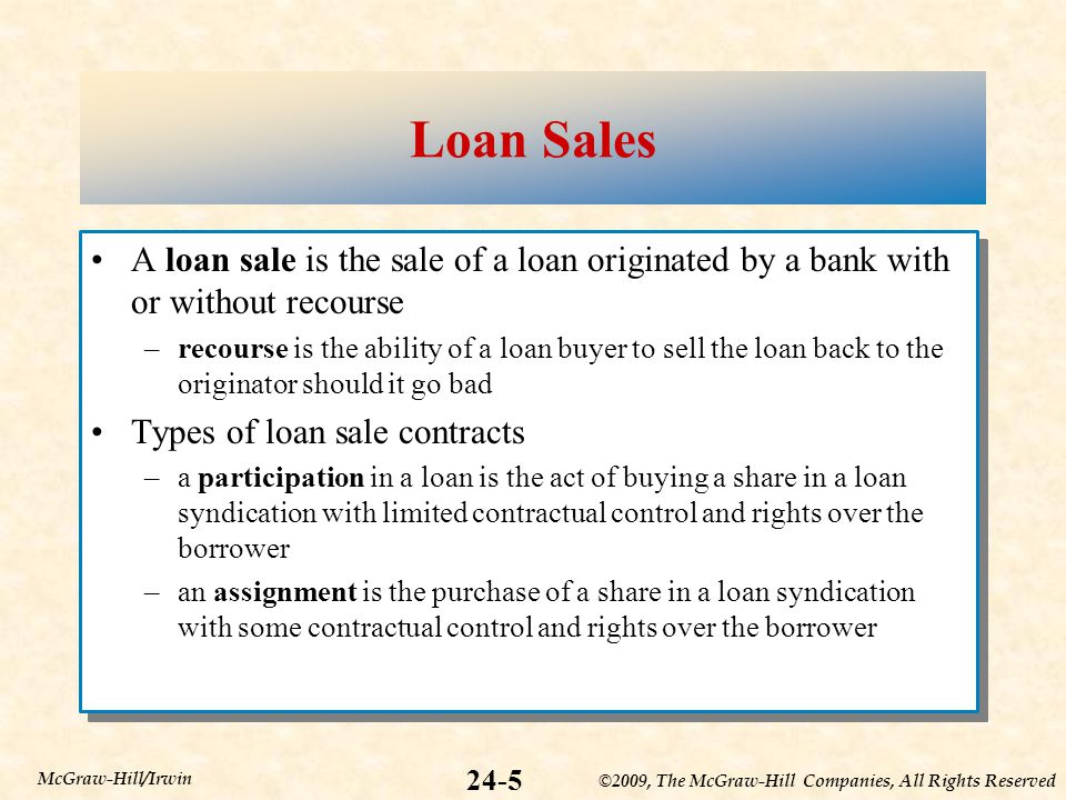 ©2009, The McGraw-Hill Companies, All Rights Reserved 24-5 McGraw-Hill/Irwin Loan Sales A loan sale is the sale of a loan originated by a bank with or without recourse –recourse is the ability of a loan buyer to sell the loan back to the originator should it go bad Types of loan sale contracts –a participation in a loan is the act of buying a share in a loan syndication with limited contractual control and rights over the borrower –an assignment is the purchase of a share in a loan syndication with some contractual control and rights over the borrower A loan sale is the sale of a loan originated by a bank with or without recourse –recourse is the ability of a loan buyer to sell the loan back to the originator should it go bad Types of loan sale contracts –a participation in a loan is the act of buying a share in a loan syndication with limited contractual control and rights over the borrower –an assignment is the purchase of a share in a loan syndication with some contractual control and rights over the borrower