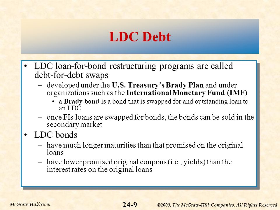 ©2009, The McGraw-Hill Companies, All Rights Reserved 24-9 McGraw-Hill/Irwin LDC Debt LDC loan-for-bond restructuring programs are called debt-for-debt swaps –developed under the U.S.