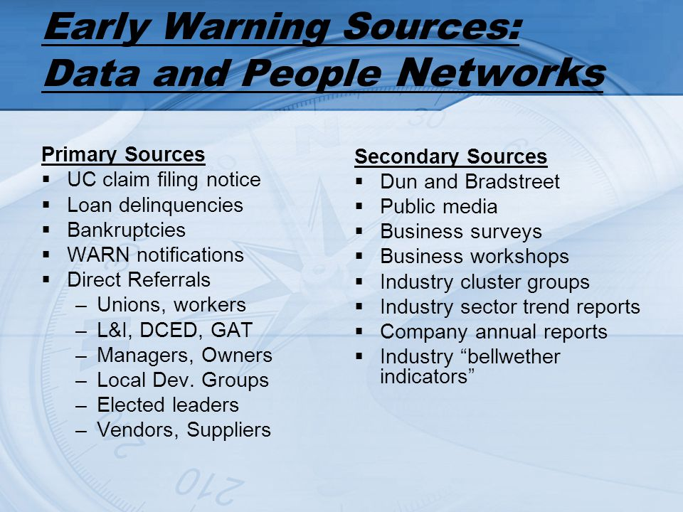 Early Warning Sources: Data and People Networks Primary Sources UC claim filing notice Loan delinquencies Bankruptcies WARN notifications Direct Refer