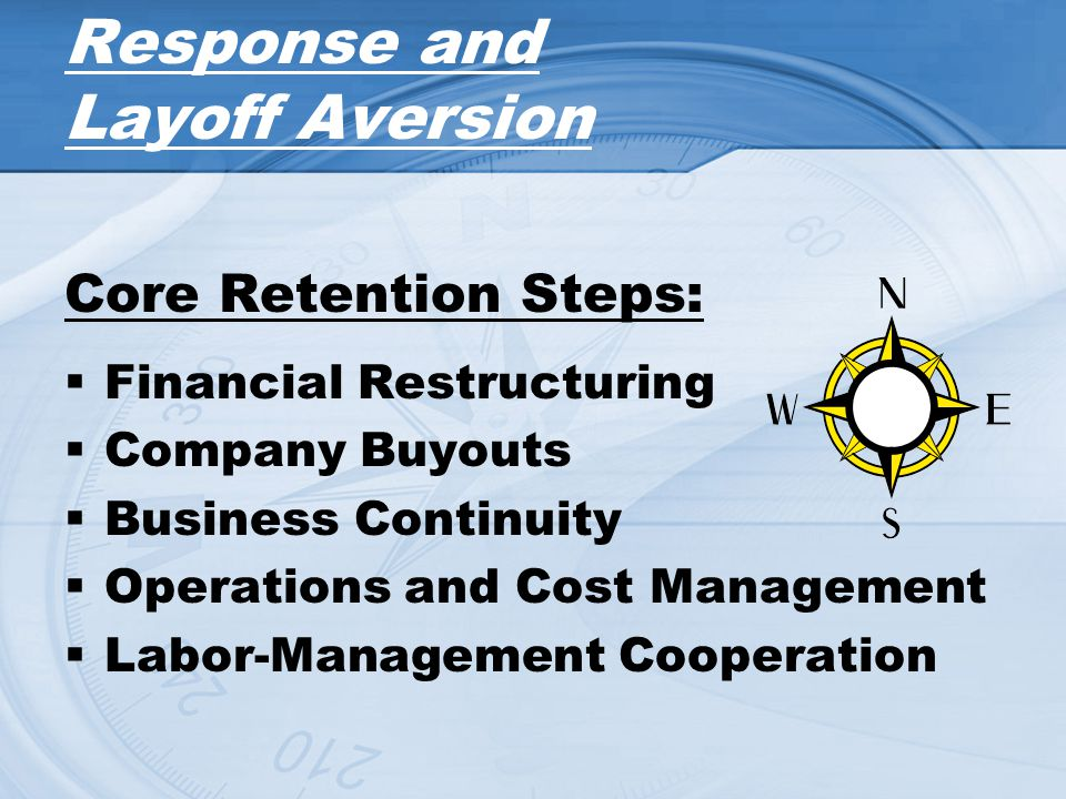 Response and Layoff Aversion Core Retention Steps: Financial Restructuring Company Buyouts Business Continuity Operations and Cost Management Labor-Ma