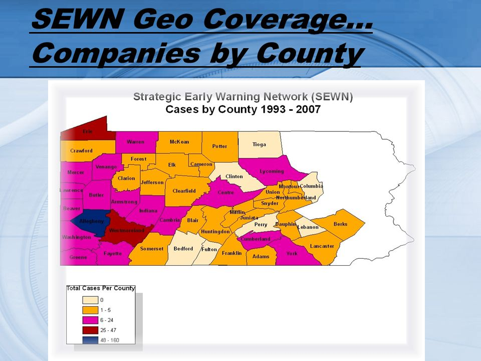 SEWN Geo Coverage… Companies by County