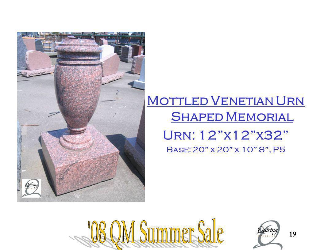 19 Urn Mottled Venetian Urn Shaped Memorial Urn: 12x12x32 Base: 20 x 20 x 10 8, P5