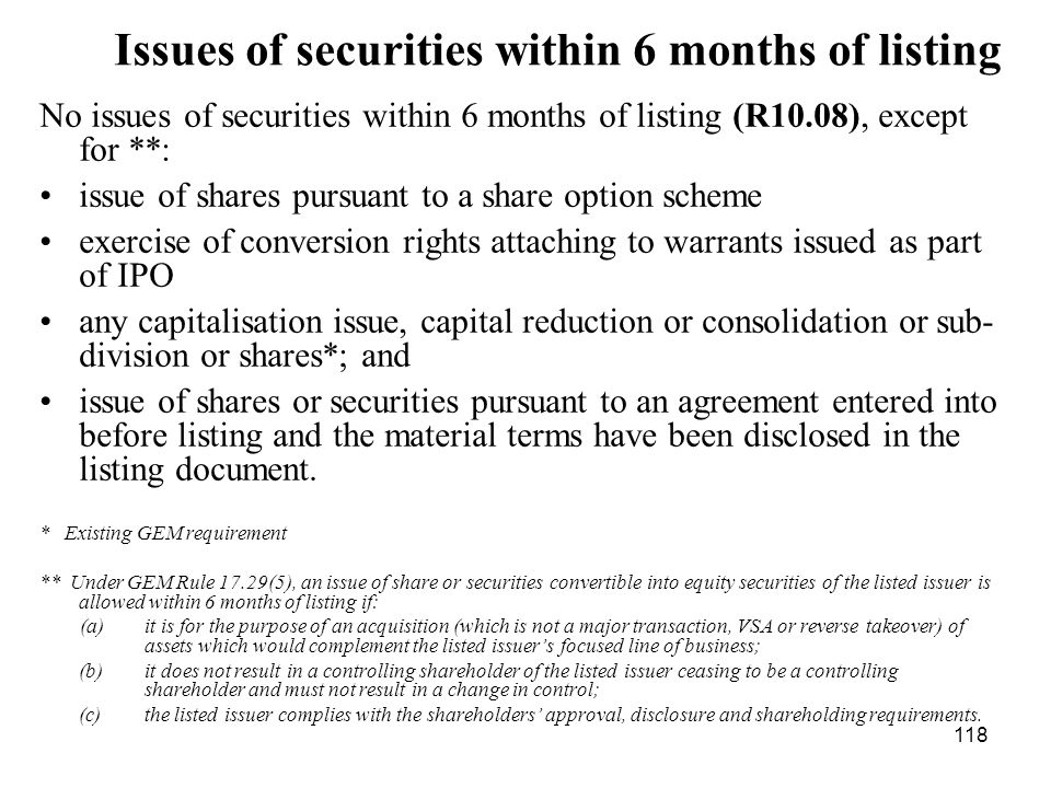 118 Issues of securities within 6 months of listing No issues of securities within 6 months of listing (R10.08), except for **: issue of shares pursua