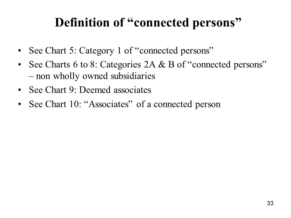 33 Definition of connected persons See Chart 5: Category 1 of connected persons See Charts 6 to 8: Categories 2A & B of connected persons – non wholly