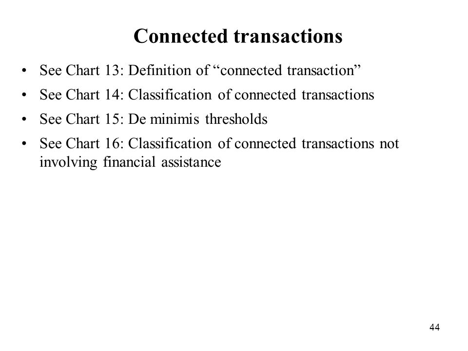 44 Connected transactions See Chart 13: Definition of connected transaction See Chart 14: Classification of connected transactions See Chart 15: De mi