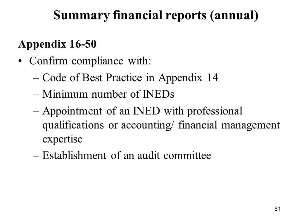 81 Summary financial reports (annual) Appendix 16-50 Confirm compliance with: –Code of Best Practice in Appendix 14 –Minimum number of INEDs –Appointm