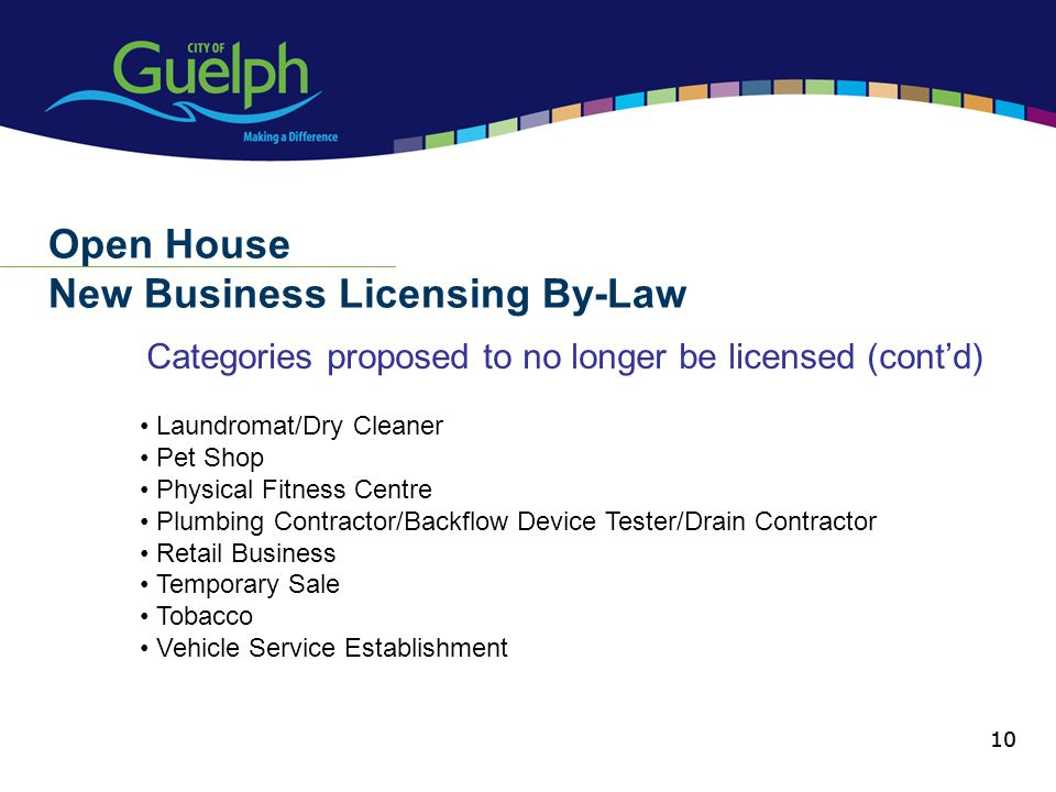 10 Categories proposed to no longer be licensed (contd) Open House New Business Licensing By-Law 10 Laundromat/Dry Cleaner Pet Shop Physical Fitness C