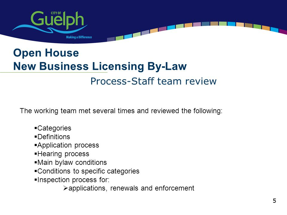 5 Process-Staff team review Open House New Business Licensing By-Law 5 The working team met several times and reviewed the following: Categories Definitions Application process Hearing process Main bylaw conditions Conditions to specific categories Inspection process for: applications, renewals and enforcement