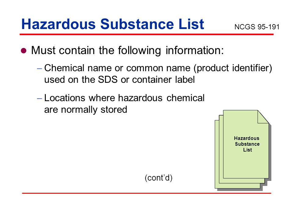 Hazardous Substance List Must contain the following information: Chemical name or common name (product identifier) used on the SDS or container label Locations where hazardous chemical are normally stored Hazardous Substance List (contd) NCGS 95-191
