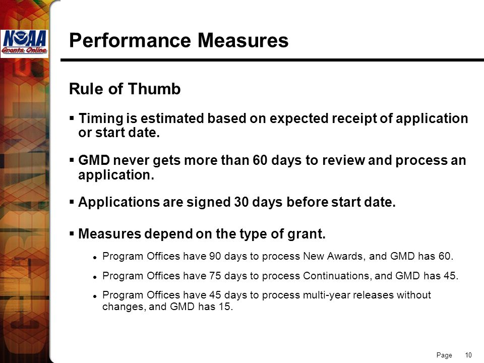 Page 10 Performance Measures Rule of Thumb Timing is estimated based on expected receipt of application or start date. GMD never gets more than 60 day
