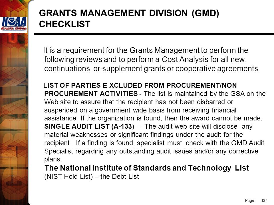 Page 137 GRANTS MANAGEMENT DIVISION (GMD) CHECKLIST It is a requirement for the Grants Management to perform the following reviews and to perform a Co