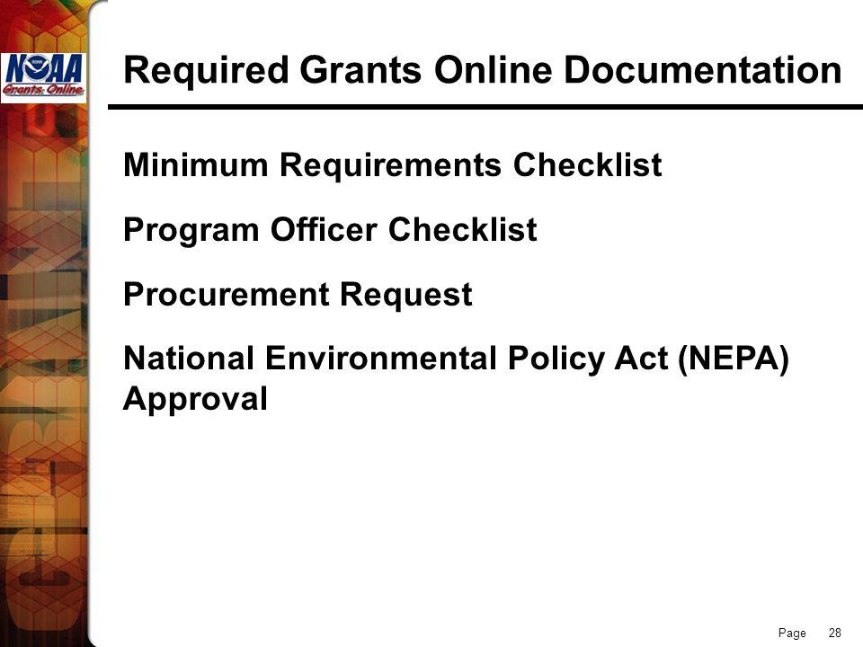 Page 28 Required Grants Online Documentation Minimum Requirements Checklist Program Officer Checklist Procurement Request National Environmental Polic