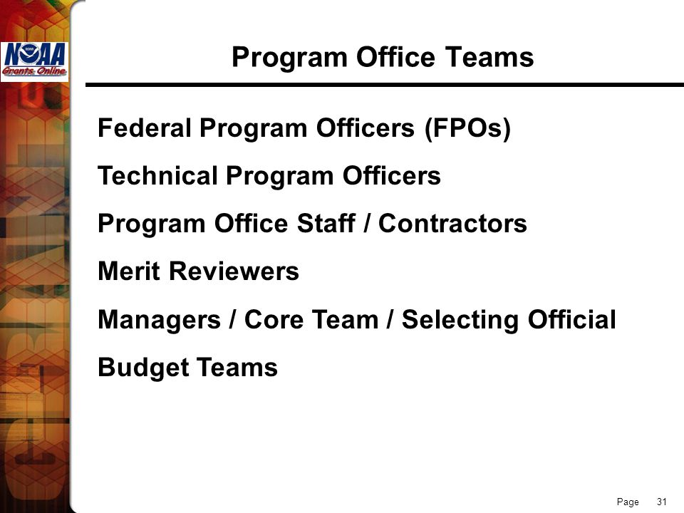 Page 31 Program Office Teams Federal Program Officers (FPOs) Technical Program Officers Program Office Staff / Contractors Merit Reviewers Managers /