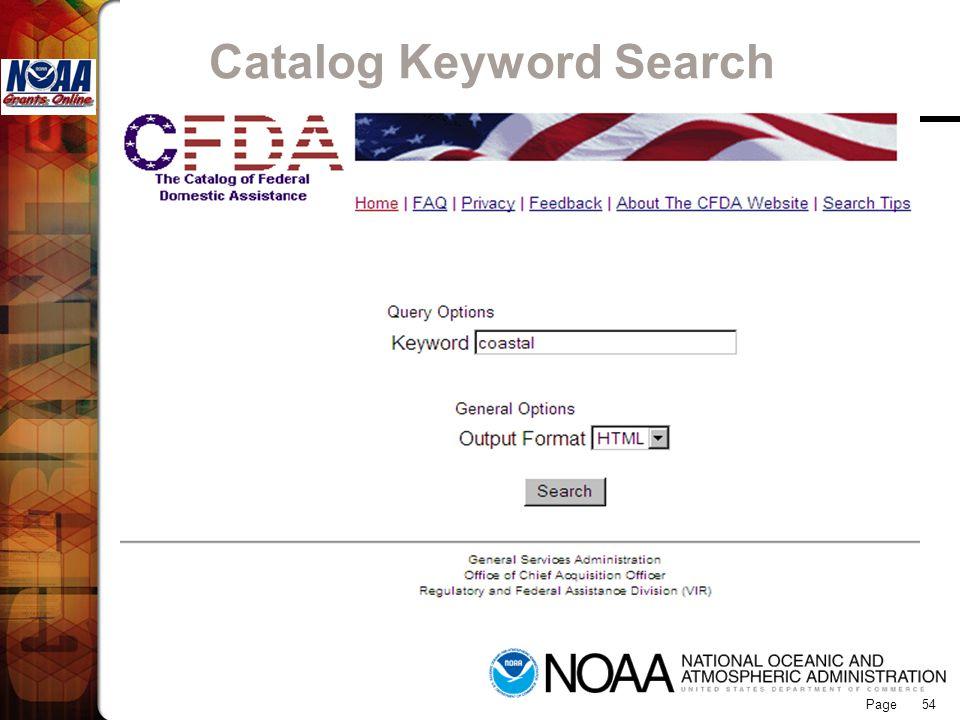 Page 54 Catalog Keyword Search