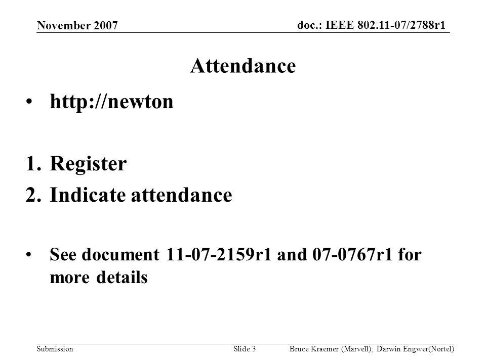 doc.: IEEE 802.11-07/2788r1 Submission November 2007 Bruce Kraemer (Marvell); Darwin Engwer(Nortel)Slide 3 Attendance http://newton 1.Register 2.Indic