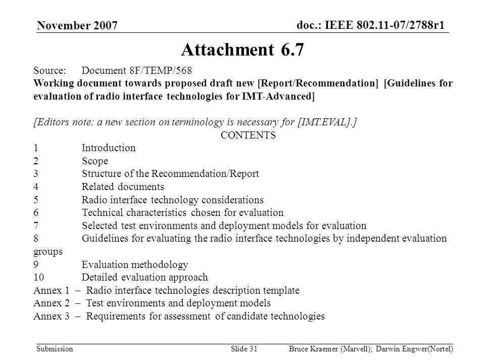 doc.: IEEE 802.11-07/2788r1 Submission November 2007 Bruce Kraemer (Marvell); Darwin Engwer(Nortel)Slide 31 Attachment 6.7 Source:Document 8F/TEMP/568