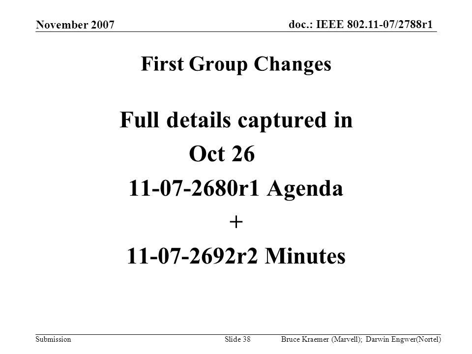 doc.: IEEE 802.11-07/2788r1 Submission November 2007 Bruce Kraemer (Marvell); Darwin Engwer(Nortel)Slide 38 First Group Changes Full details captured