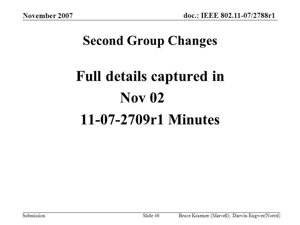 doc.: IEEE 802.11-07/2788r1 Submission November 2007 Bruce Kraemer (Marvell); Darwin Engwer(Nortel)Slide 46 Second Group Changes Full details captured in Nov 02 11-07-2709r1 Minutes