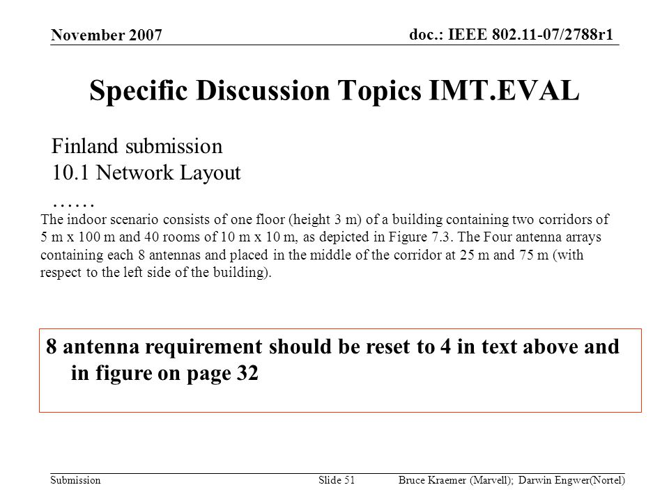 doc.: IEEE 802.11-07/2788r1 Submission November 2007 Bruce Kraemer (Marvell); Darwin Engwer(Nortel)Slide 51 Specific Discussion Topics IMT.EVAL The in