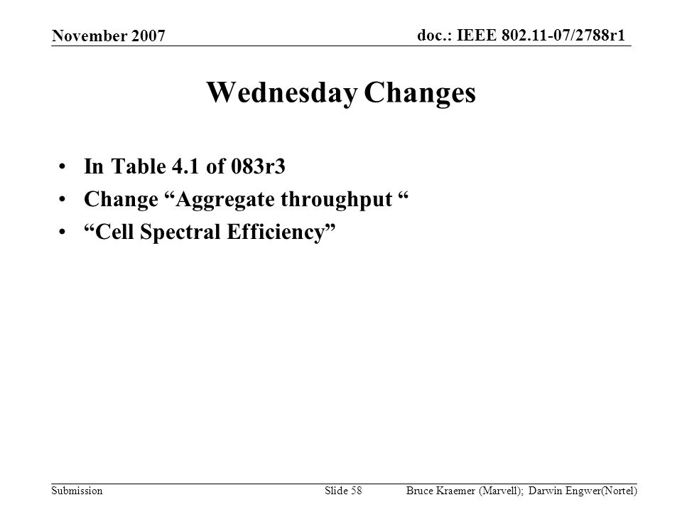 doc.: IEEE 802.11-07/2788r1 Submission November 2007 Bruce Kraemer (Marvell); Darwin Engwer(Nortel)Slide 58 Wednesday Changes In Table 4.1 of 083r3 Change Aggregate throughput Cell Spectral Efficiency