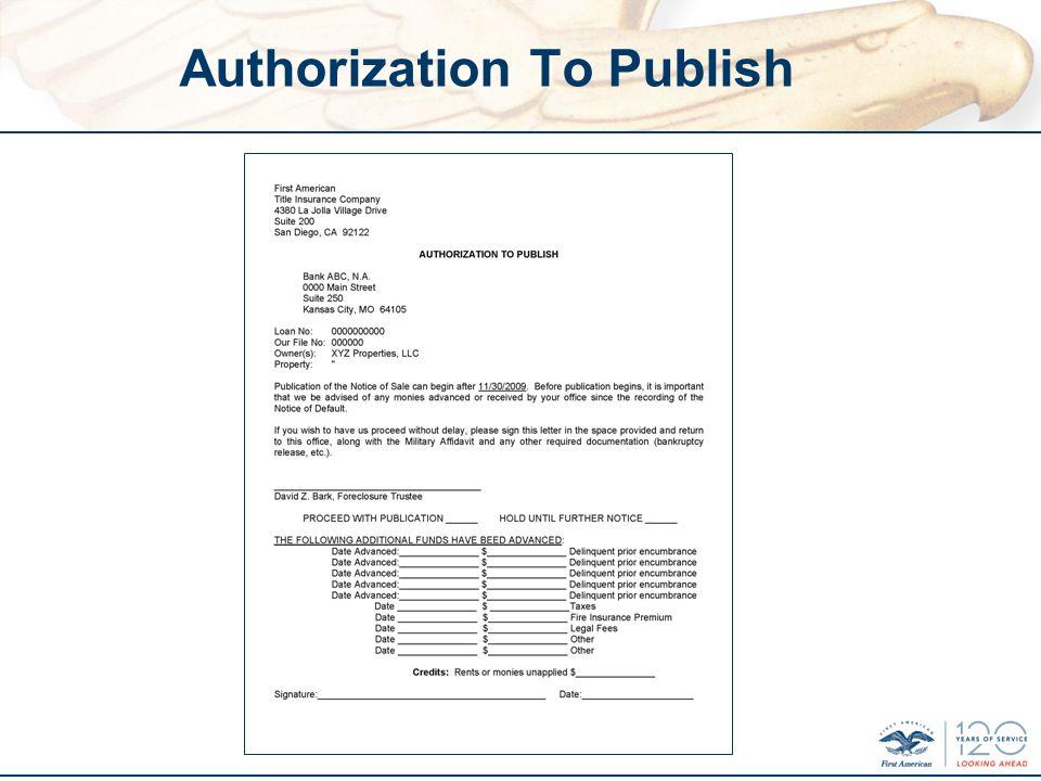 Authorization To Publish