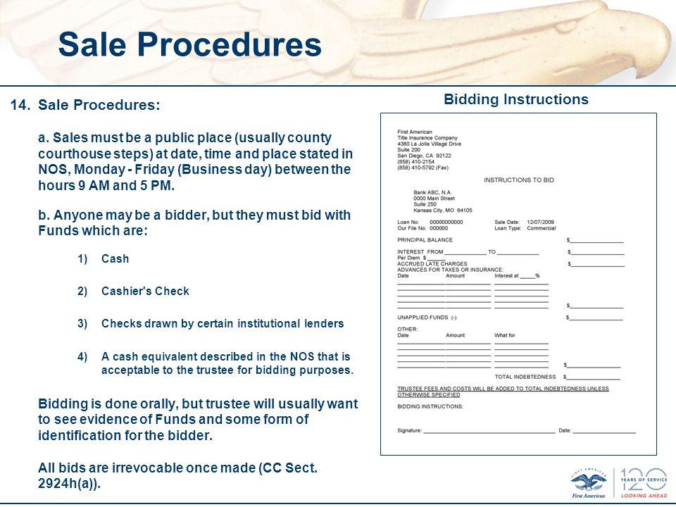 Sale Procedures 14.Sale Procedures: a.