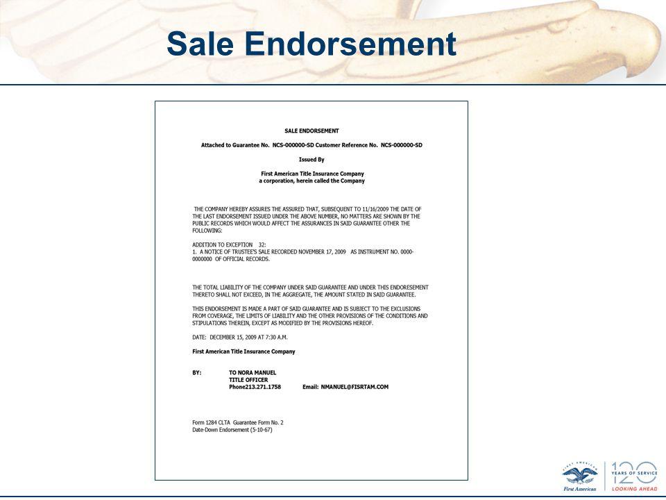 Sale Endorsement
