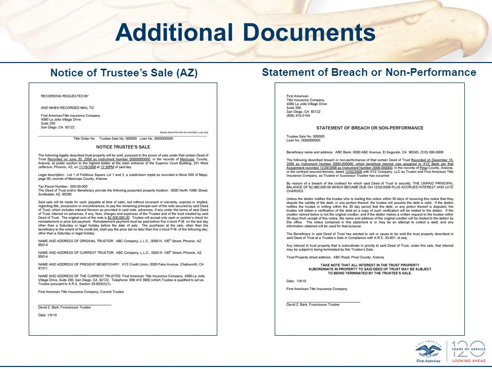 Additional Documents Statement of Breach or Non-Performance Notice of Trustees Sale (AZ)