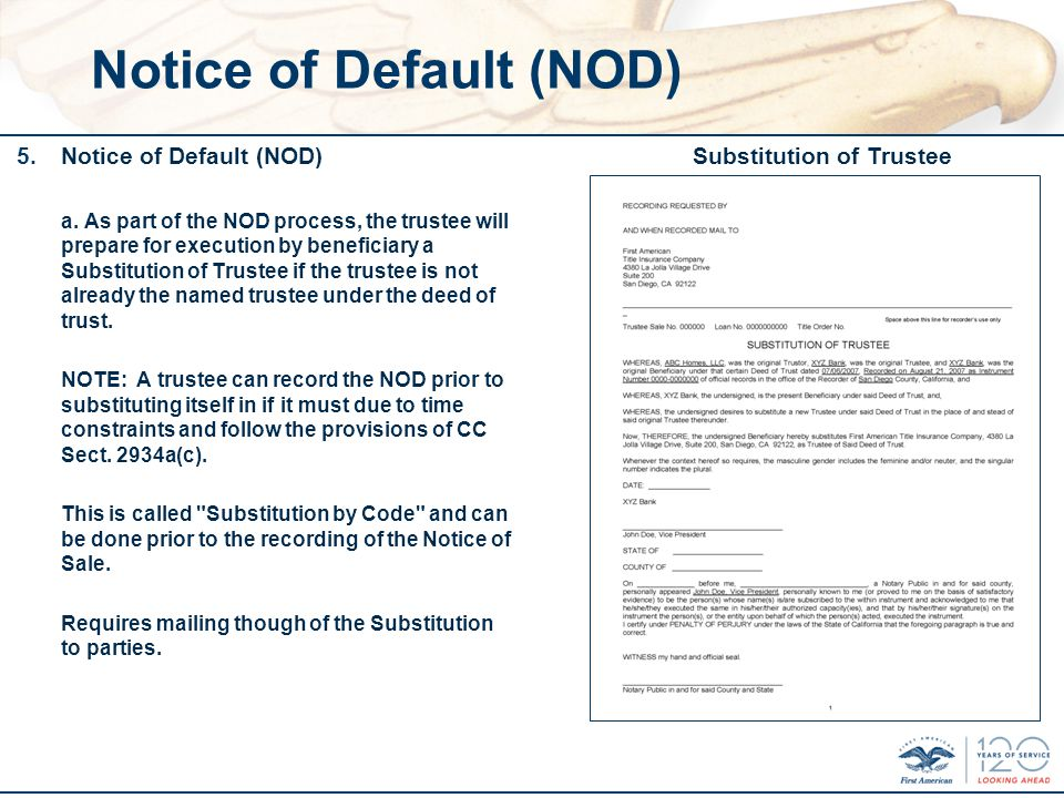 Notice of Default (NOD) 5.Notice of Default (NOD) a.