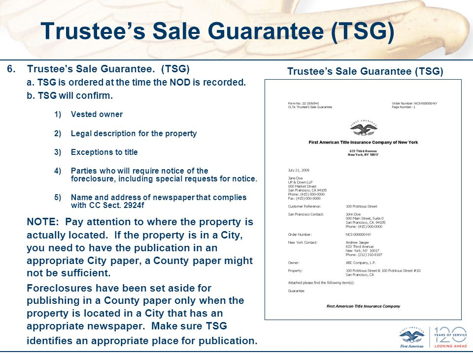 Trustees Sale Guarantee (TSG) 6.Trustee s Sale Guarantee.