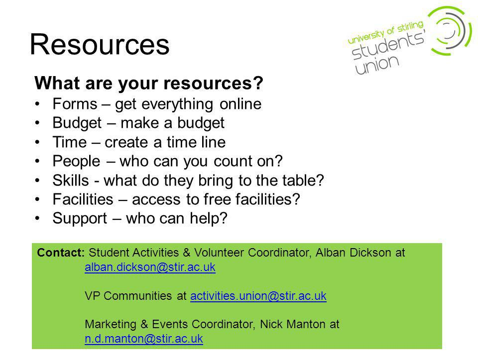 Resources What are your resources.