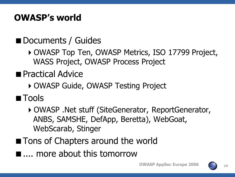 OWASP AppSec Europe 2006 10 OWASPs world Documents / Guides OWASP Top Ten, OWASP Metrics, ISO 17799 Project, WASS Project, OWASP Process Project Pract