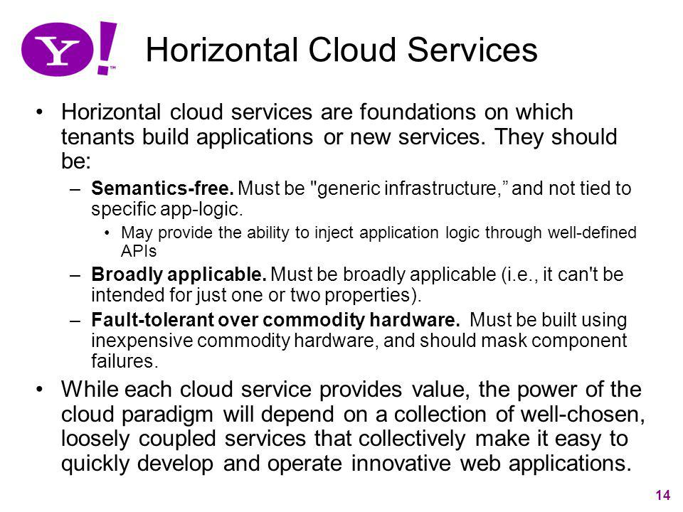 14 Horizontal Cloud Services Horizontal cloud services are foundations on which tenants build applications or new services. They should be: –Semantics