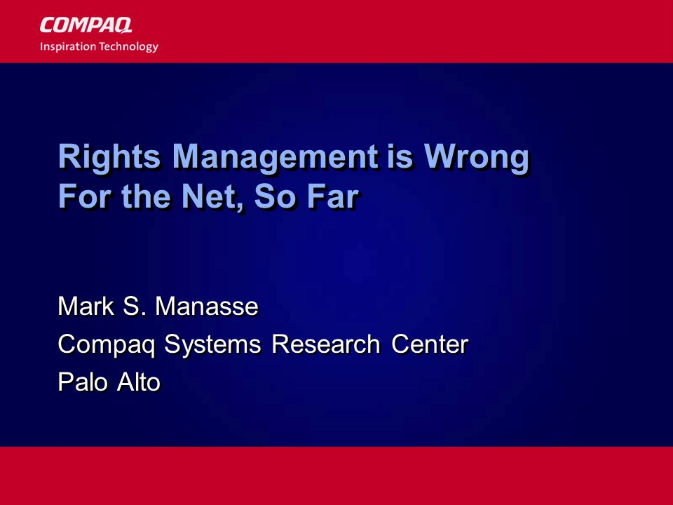 Rights Management is Wrong For the Net, So Far Mark S.