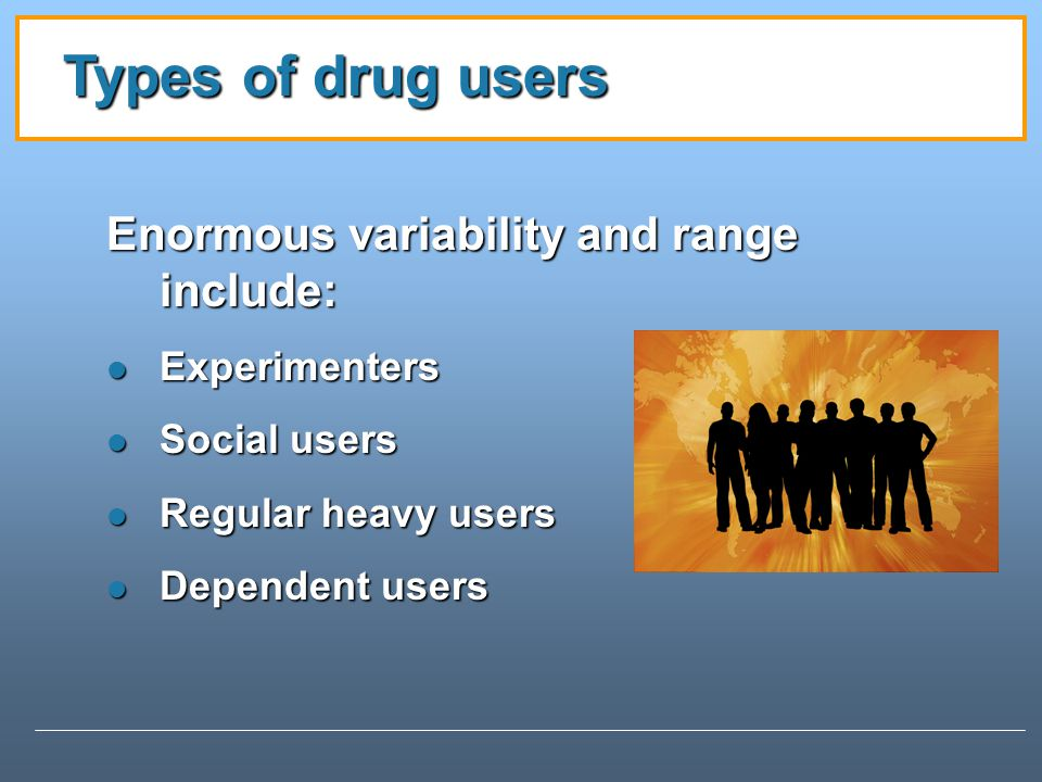 Types of drug users Enormous variability and range include: Experimenters Experimenters Social users Social users Regular heavy users Regular heavy users Dependent users Dependent users