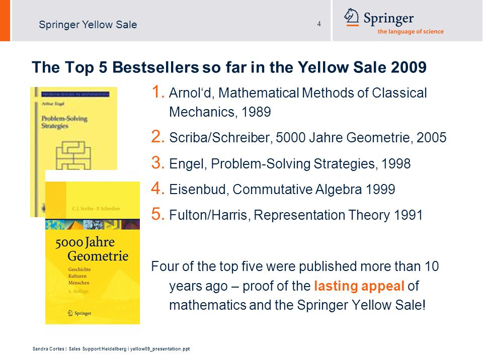 4 Sandra Cortes | Sales Support Heidelberg | yellow09_presentation.ppt Springer Yellow Sale The Top 5 Bestsellers so far in the Yellow Sale 2009 1.