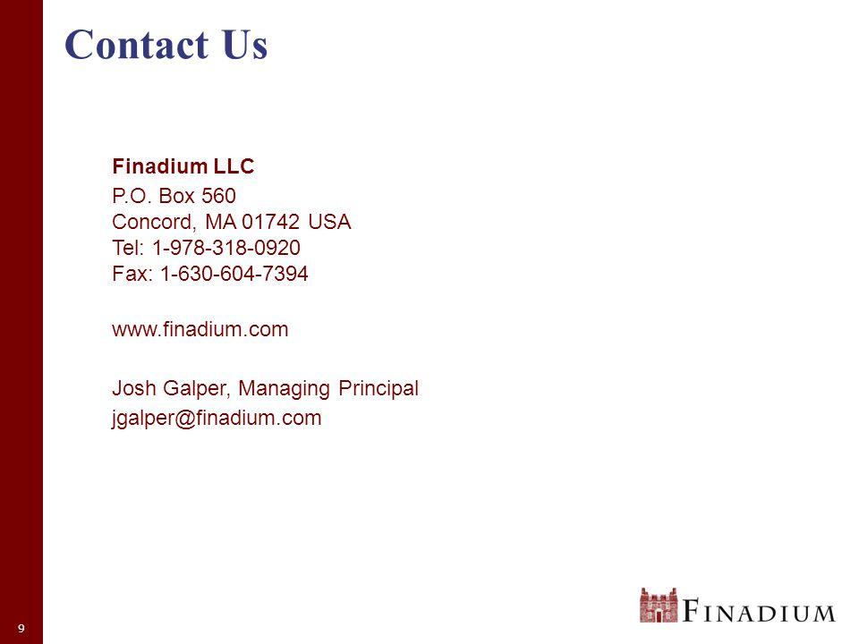 9 Contact Us Finadium LLC P.O.