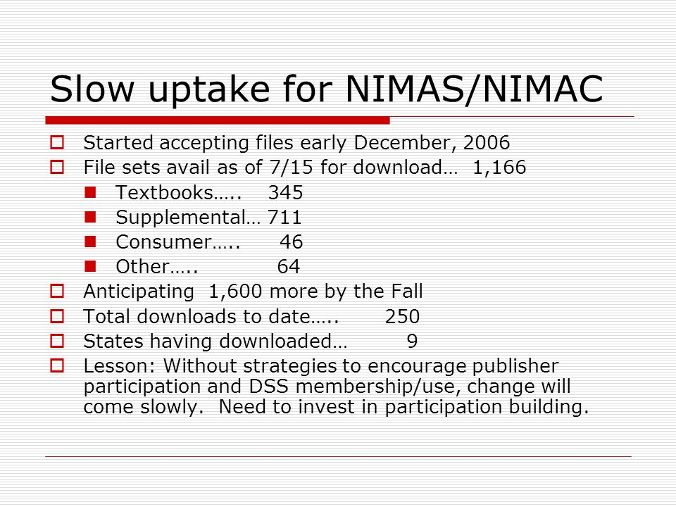 Slow uptake for NIMAS/NIMAC Started accepting files early December, 2006 File sets avail as of 7/15 for download… 1,166 Textbooks…..