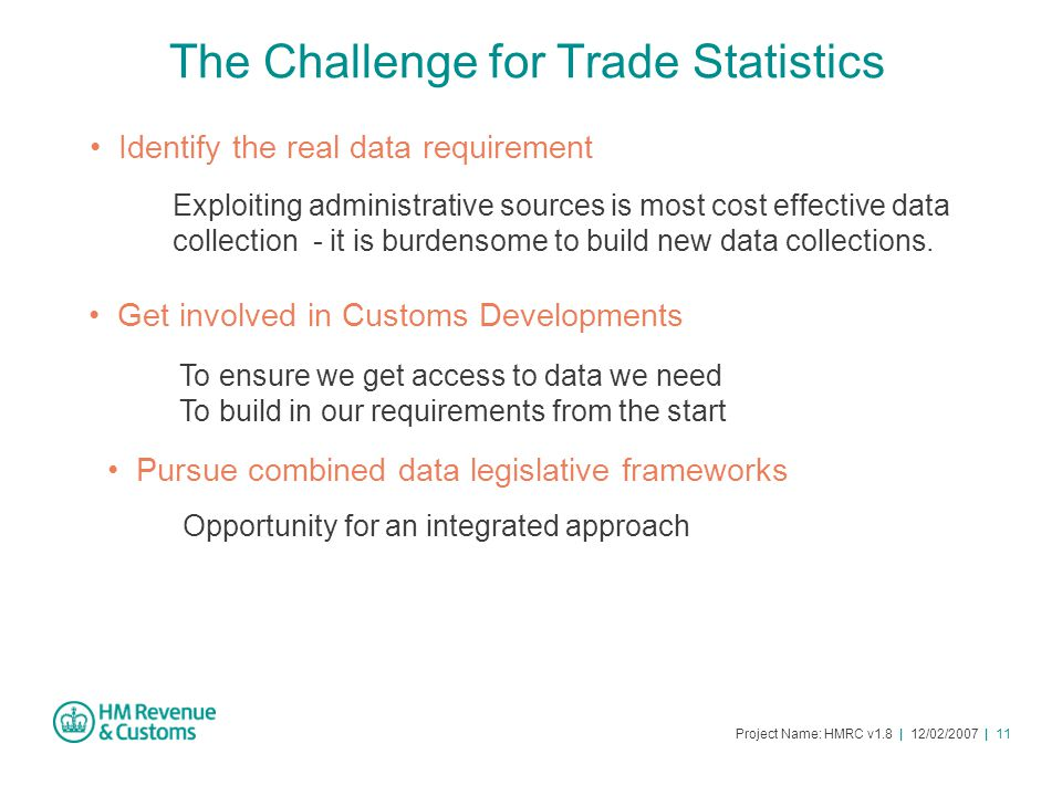 Project Name: HMRC v1.8 | 12/02/2007 | 11 The Challenge for Trade Statistics Exploiting administrative sources is most cost effective data collection