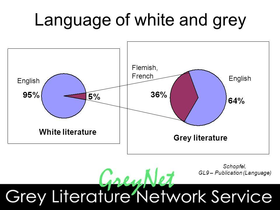 Language of white and grey English Flemish, French English White literature Grey literature Schopfel, GL9 – Publication (Language)