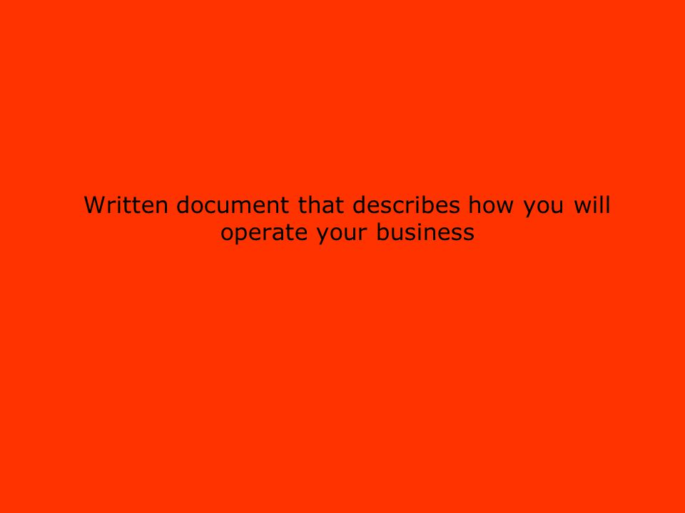 Written document that describes how you will operate your business