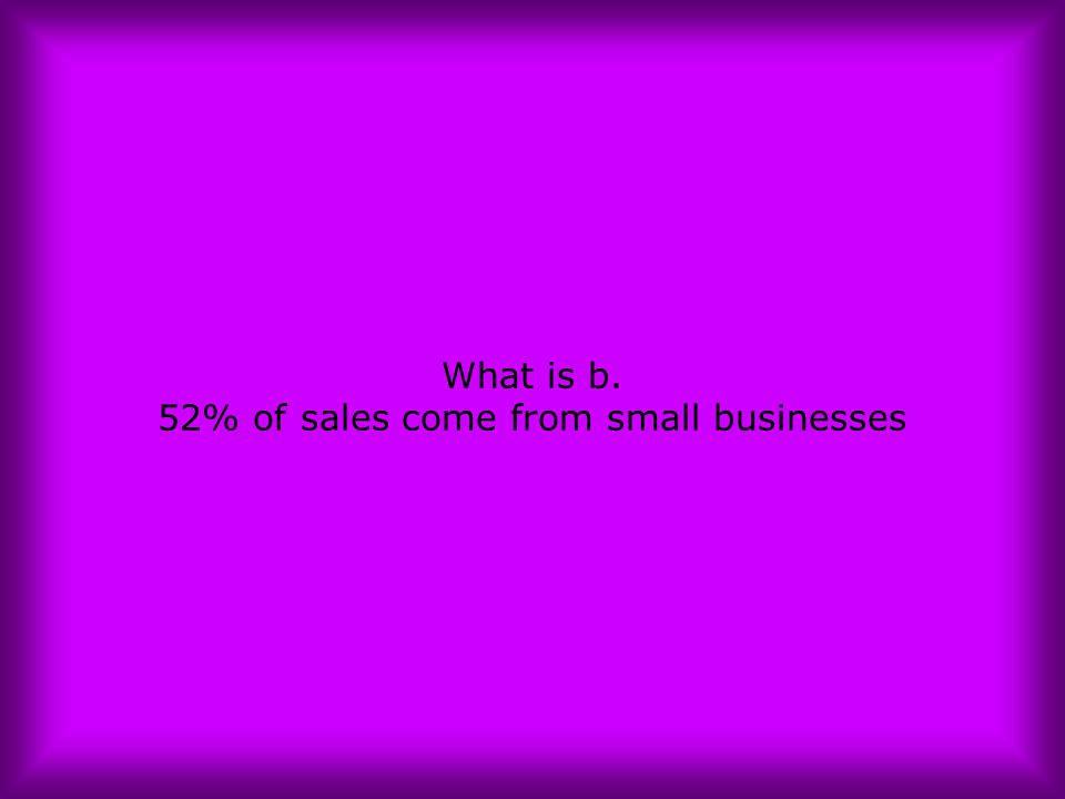 What is b. 52% of sales come from small businesses