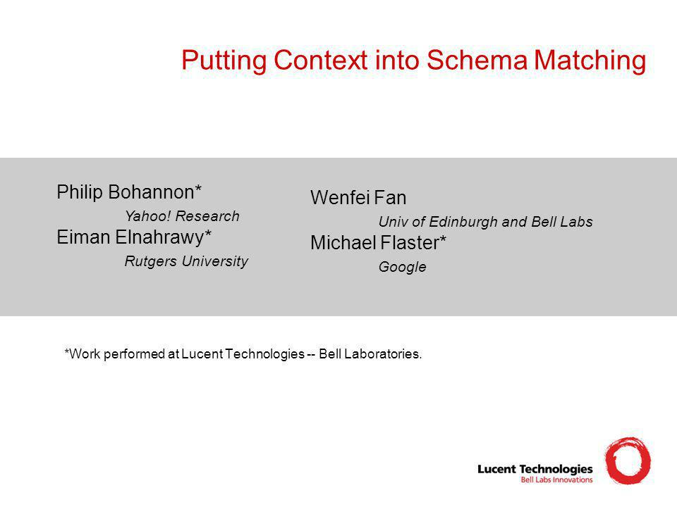 Putting Context into Schema Matching Philip Bohannon* Yahoo! Research Eiman Elnahrawy* Rutgers University Wenfei Fan Univ of Edinburgh and Bell Labs M
