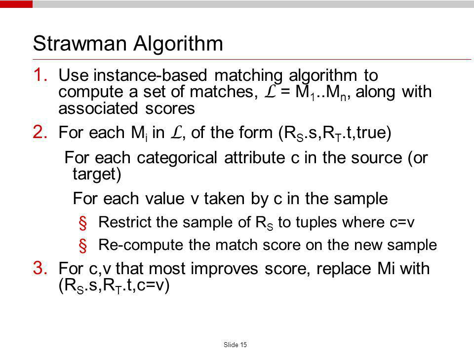 Slide 15 Strawman Algorithm 1. Use instance-based matching algorithm to compute a set of matches, L = M 1..M n, along with associated scores 2. For ea