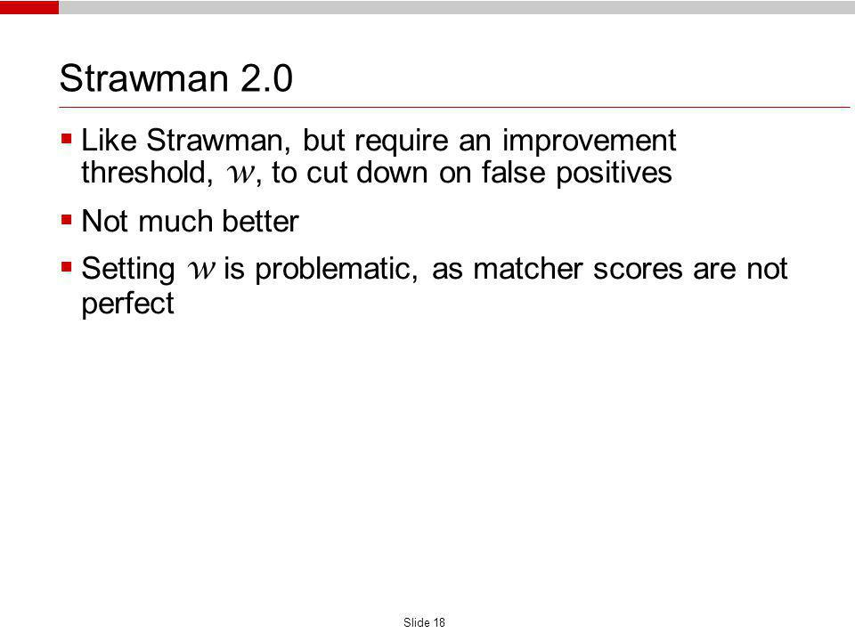 Slide 18 Strawman 2.0 Like Strawman, but require an improvement threshold, w, to cut down on false positives Not much better Setting w is problematic, as matcher scores are not perfect