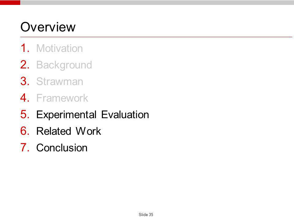 Slide 35 Overview 1. Motivation 2. Background 3. Strawman 4. Framework 5. Experimental Evaluation 6. Related Work 7. Conclusion