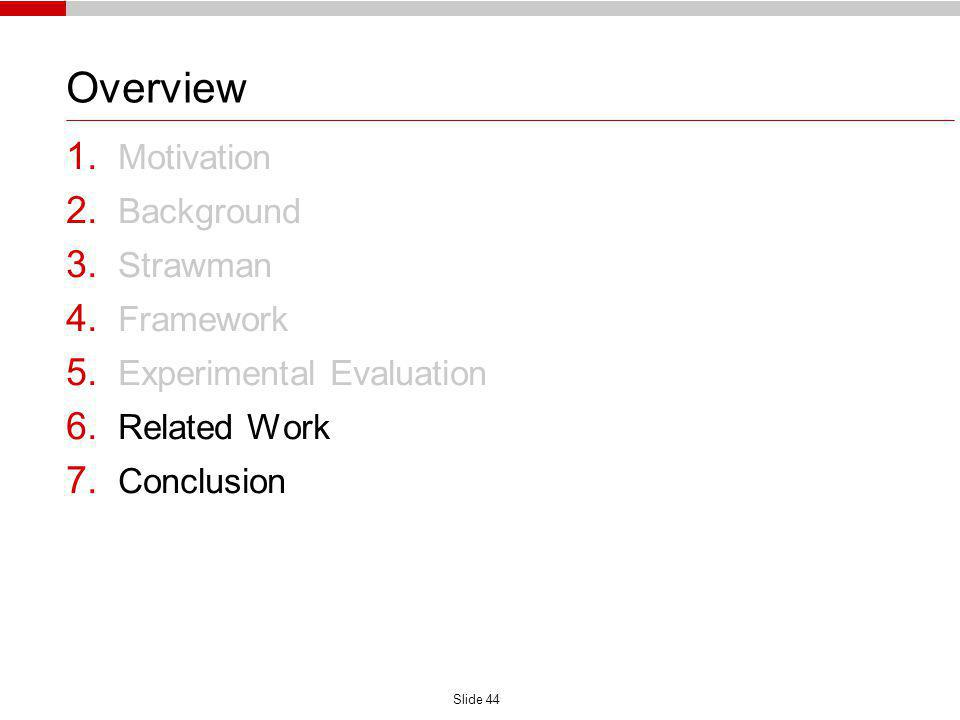Slide 44 Overview 1. Motivation 2. Background 3. Strawman 4. Framework 5. Experimental Evaluation 6. Related Work 7. Conclusion