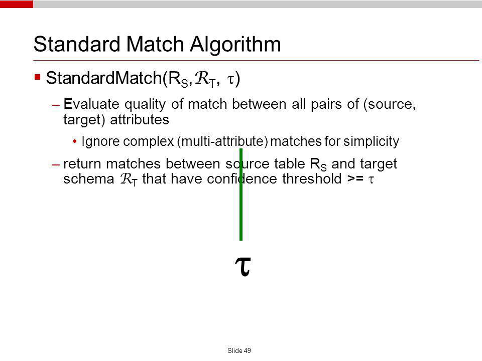 Slide 49 Standard Match Algorithm StandardMatch(R S, R T, ) –Evaluate quality of match between all pairs of (source, target) attributes Ignore complex (multi-attribute) matches for simplicity –return matches between source table R S and target schema R T that have confidence threshold >=